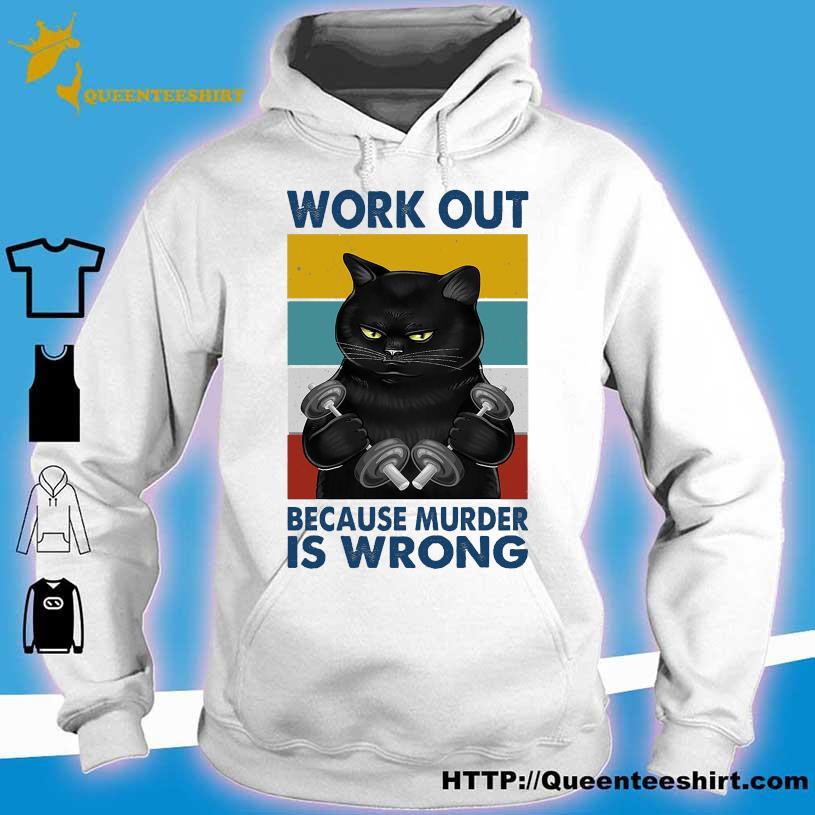 Black Cat Gym work out because murder is wrong vintage s hoodie