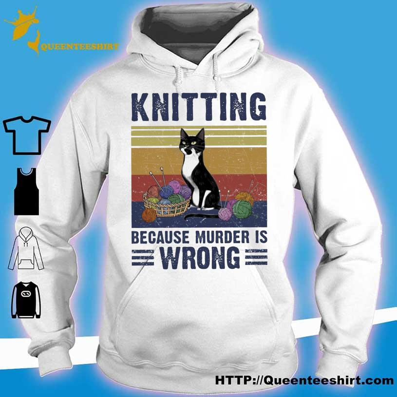 Black Cat Knitting Because Murder Is Wrong vintage s hoodie