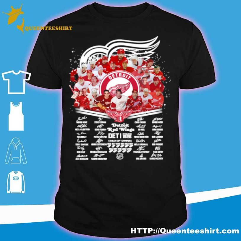Detroit Red Wings Nhl Team Player Names Signatures Shirt