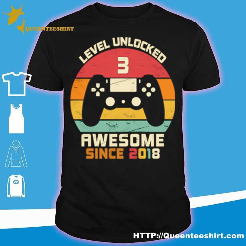 Level Unlocked 3 Awesome Since 2018 Vintage Retro Shirt