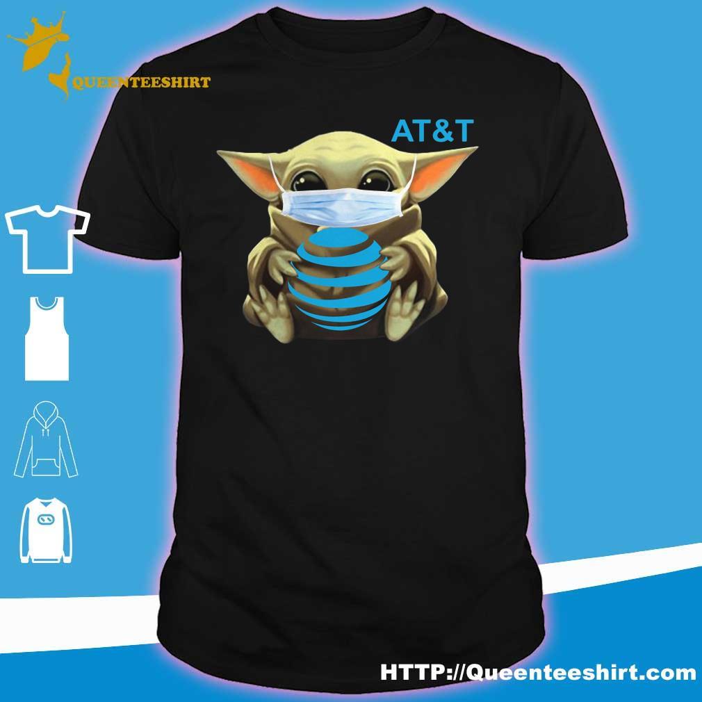 Baby Yoda face mask hug AT&T shirt