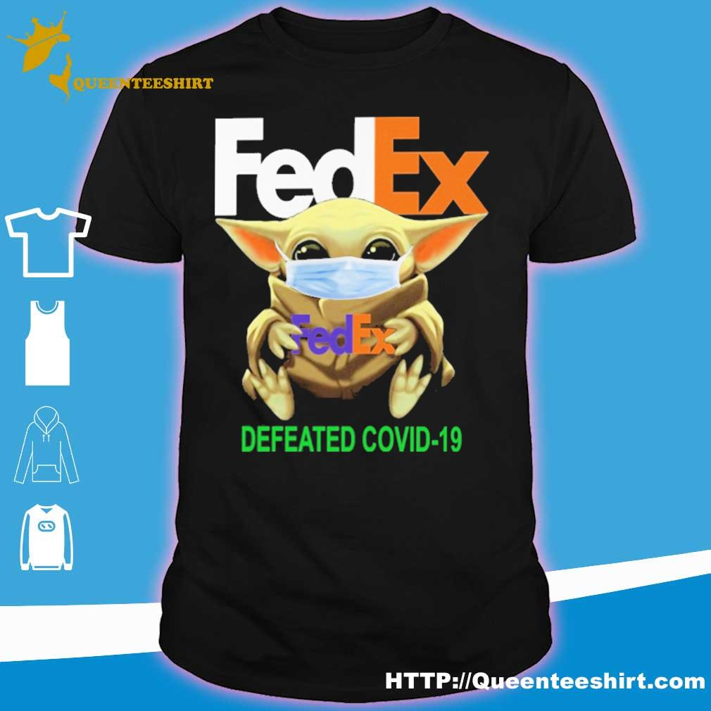 Baby yoda face mask hug FedEx defeated covid 19 shirt