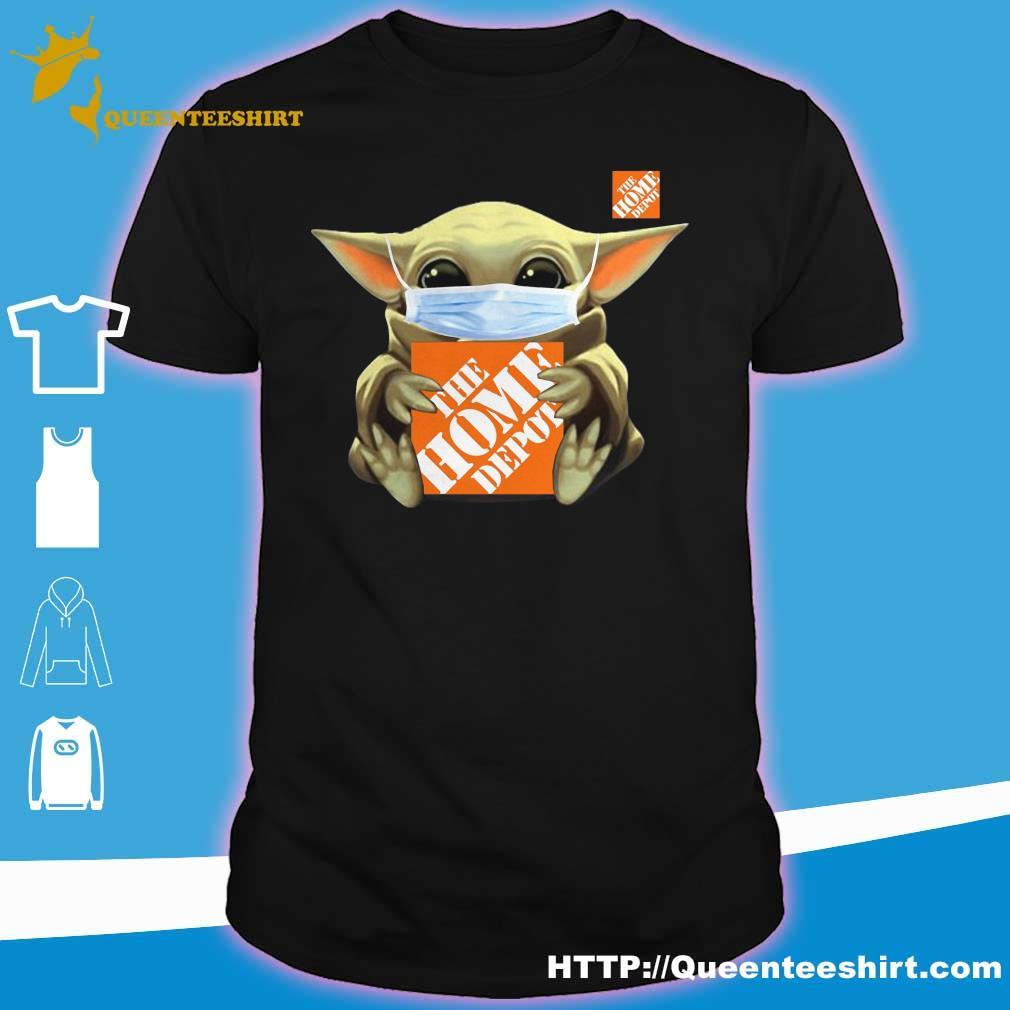 Baby Yoda face mask hug Home Depot shirt