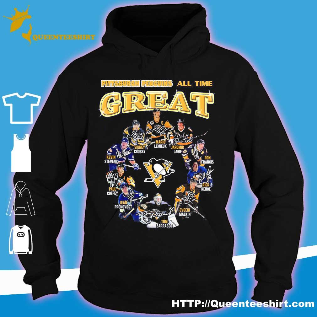 Pittsburgh Penguins all time Great Mario Lemieux Jaromir Jagr Ron Francis signatures s hoodie