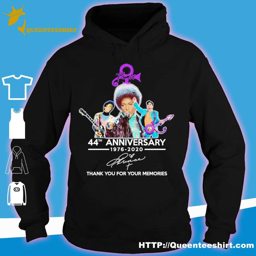 Prince 44th anniversary 1976 2020 thank you for your memories signature s hoodie