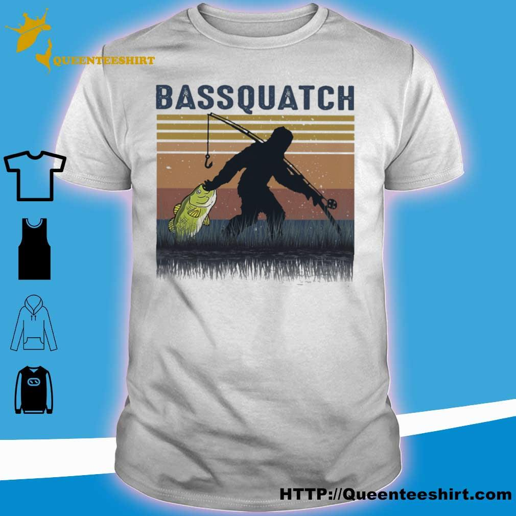 Bigfoot fishing bassquatch vintage shirt