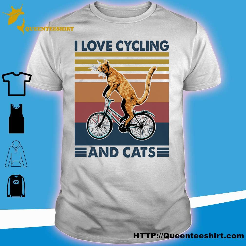 Cat i love cycling and cats vintage shirt