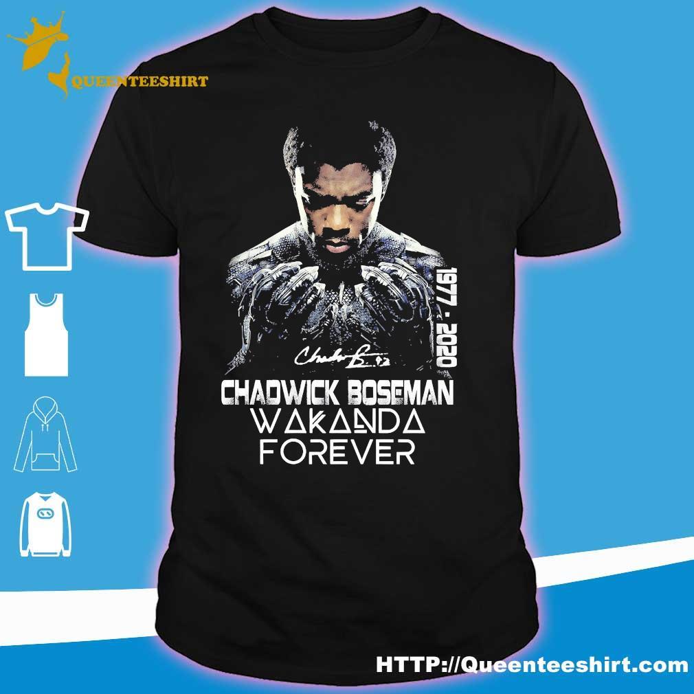 Chadwick Boseman Wakanda Forever 1977 2020 signature shirt