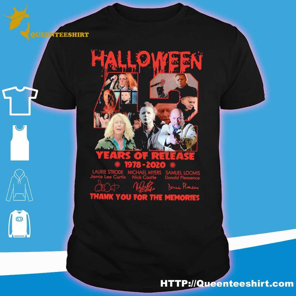 Top Halloween Shirts 2020 Halloween 42 years of Release 1978 2020 signatures shirt, hoodie