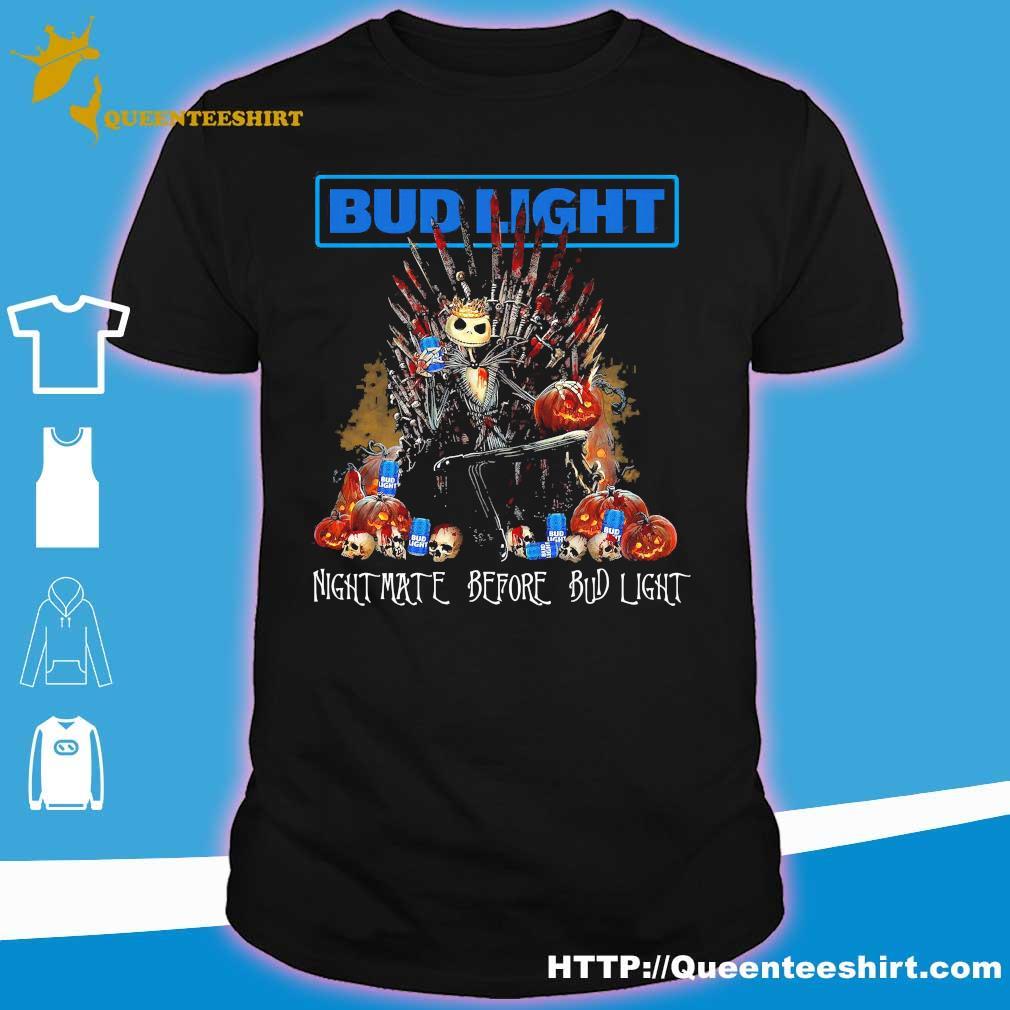Budweiser Halloween 2020 Halloween Jack Skellington nightmare before Bud Light shirt