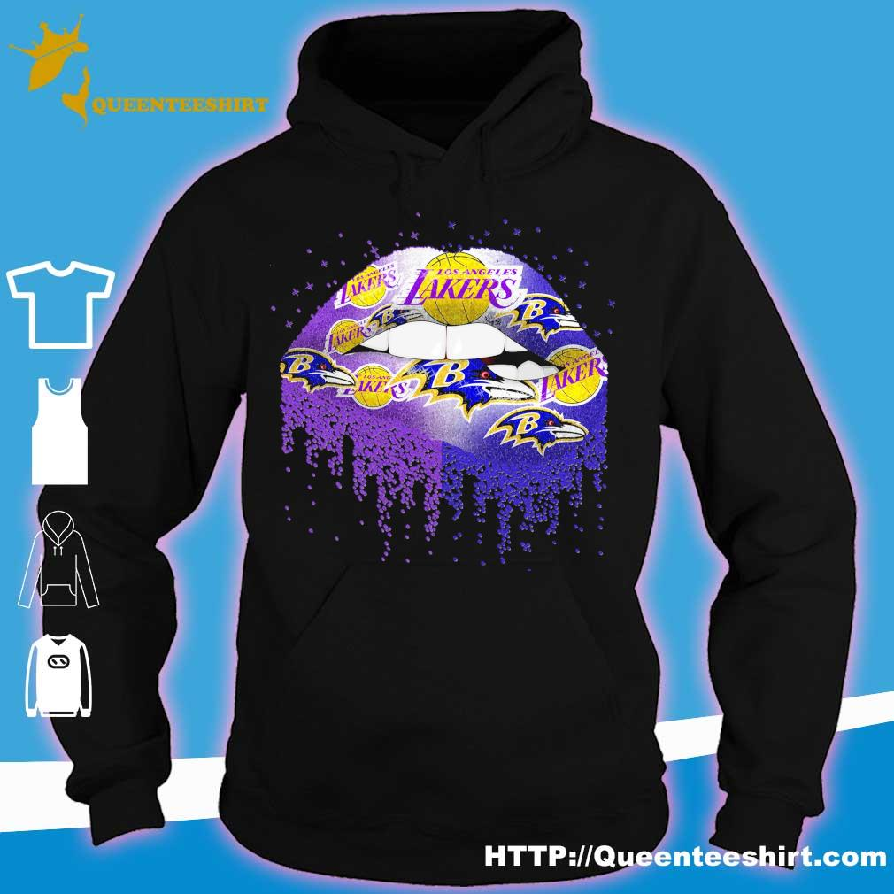 Los Angeles Lakers and Baltimore Ravens Lips s hoodie